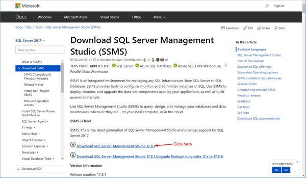Download SQL server Management Studio 17.4