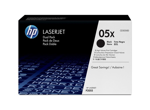Mực in HP 05X High Yield Black Original LaserJet Toner Cartridge (Dual Pack) CE505XD